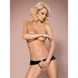 826-THC-4 crotchless thong beige and brown Obsessive Strings OB-3787 Lerotika