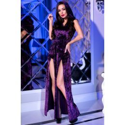 Robe fendue velours violet Chilirose Robes Fashion CR-4302-V Lerotika