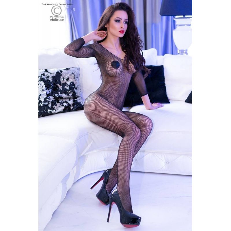 Bodystocking résille manches longues Chilirose Bodystocking CR-4307 Lerotika